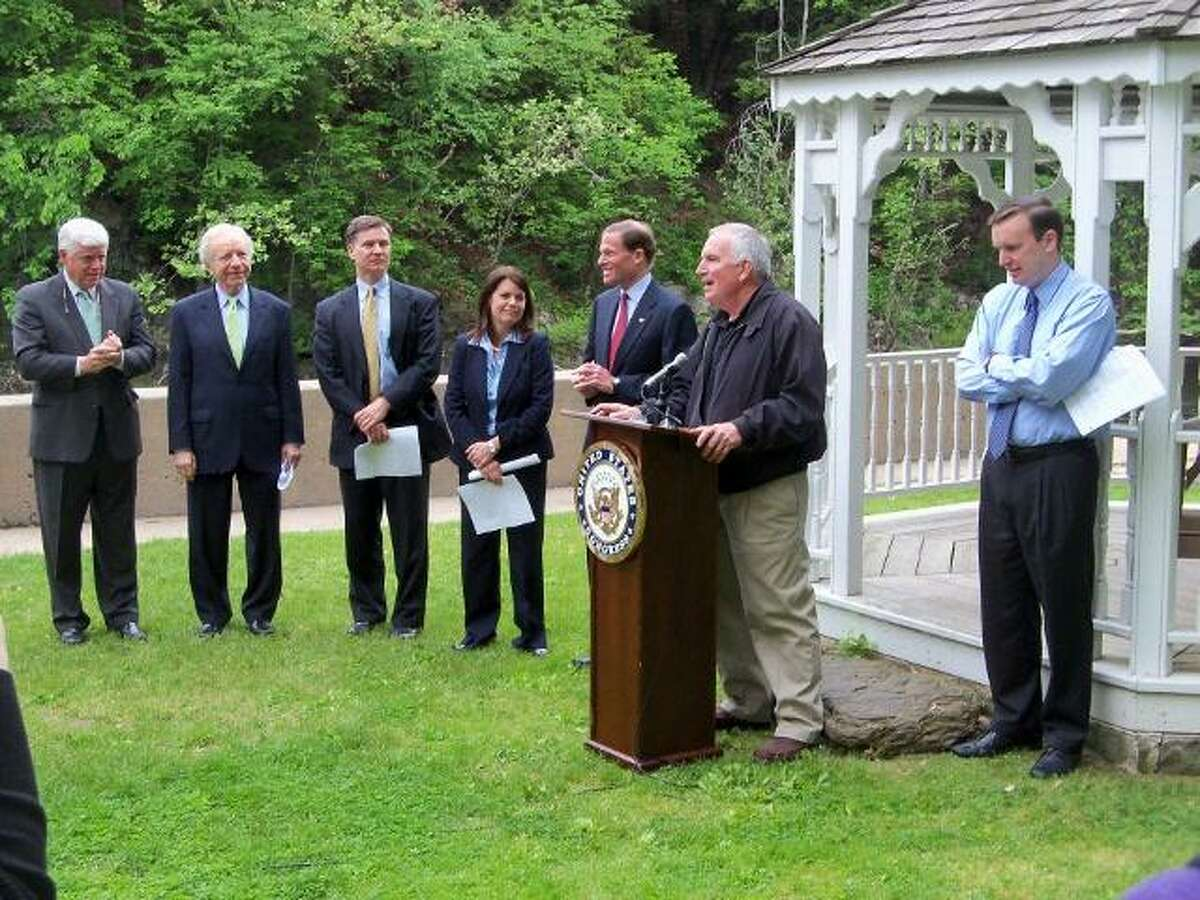 SCOT ALLYN/Register Citizen From left, John Larson, U.S. Representative for Connecticut's first district; U.S. Sen. Joe Lieberman; Dan Esty, commissioner of the Connecticut Department of Energy & Environmental Protection; Simsbury First Selectman Mary Glassman; U. S. Sen. Richard Blumenthal; Steven Stang, owner of The Mill at 2 Tunxis; and Chris Murphy, U.S. Representative for Connecticut's fifth district.