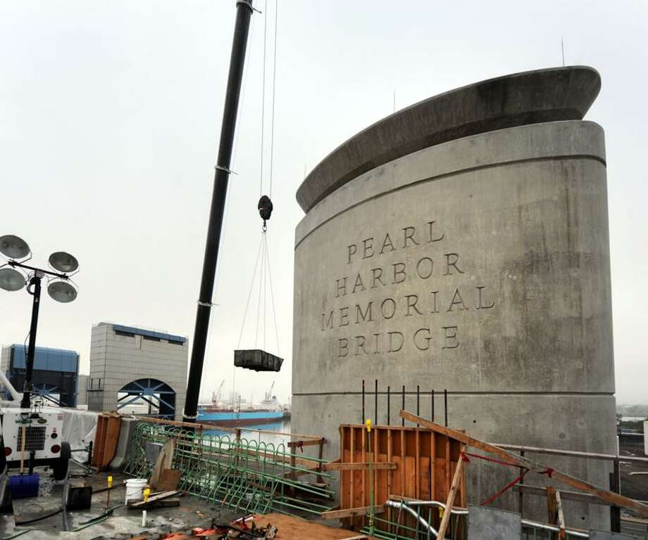 The name of the new bridge etched in the southern pier of the bridge  in preperation of the projected June 22,  2012 opening. vmWilliams 05.25.2012
