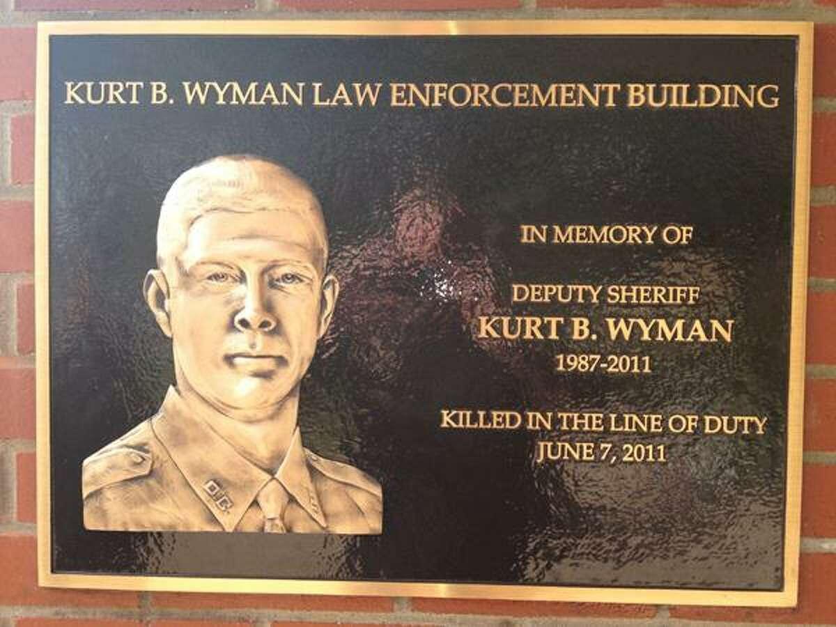 Photo Courtesy ONEIDA COUNTY SHERIFF'S DEPARTMENT A plaque commemorating the Deputy Kurt B. Wyman Law Enforcement Building.