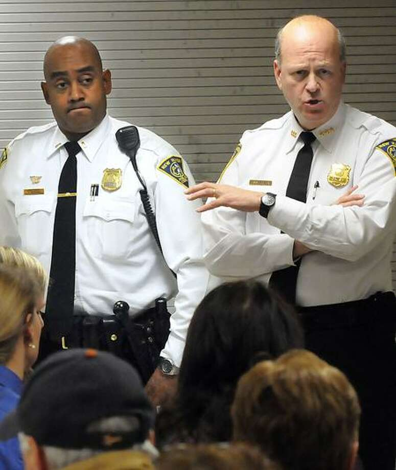Worthington Hooker School in New Haven was the site for an East Rock community meeting with Police Lt. Thad Reddish, left, and New Haven Police Chief Dean Esserman in January 2012. File photo by Mara Lavitt/New Haven Register
