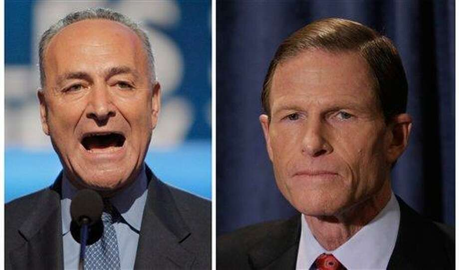 Troubled by reports of the practice of employers asking for Facebook passwords during job interviews, Democratic Sens. Chuck Schumer of New York, left, and Richard Blumenthal of Connecticut said they are calling on the Department of Justice and the U.S. Equal Employment Opportunity Commission to launch investigations. The senators are sending letters to the heads of the agencies their offices announced Sunday. Associated Press Photo: AP / ap
