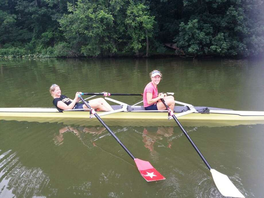 Margot Shumway, left, and Sarah Trowbridge of Guilford enjoy a row in London.