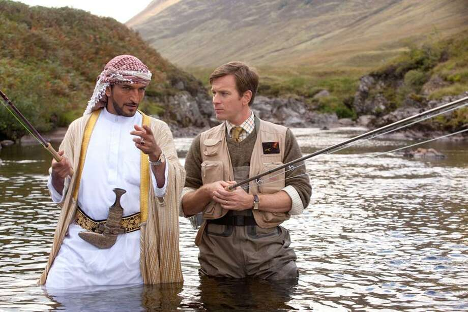"""CBS Films: Amr Waked, left, and Ewan MacGregor star in """"Salmon Fishing in the Yemen."""" Photo: Laurie Sparham / © 2011 Yemen Distributions Limited."""