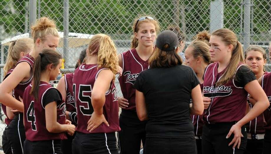 Mara Lavitt/New Haven Register Torrington players react after Thursday's 1-0 loss to Seymour in the NVL championship game.