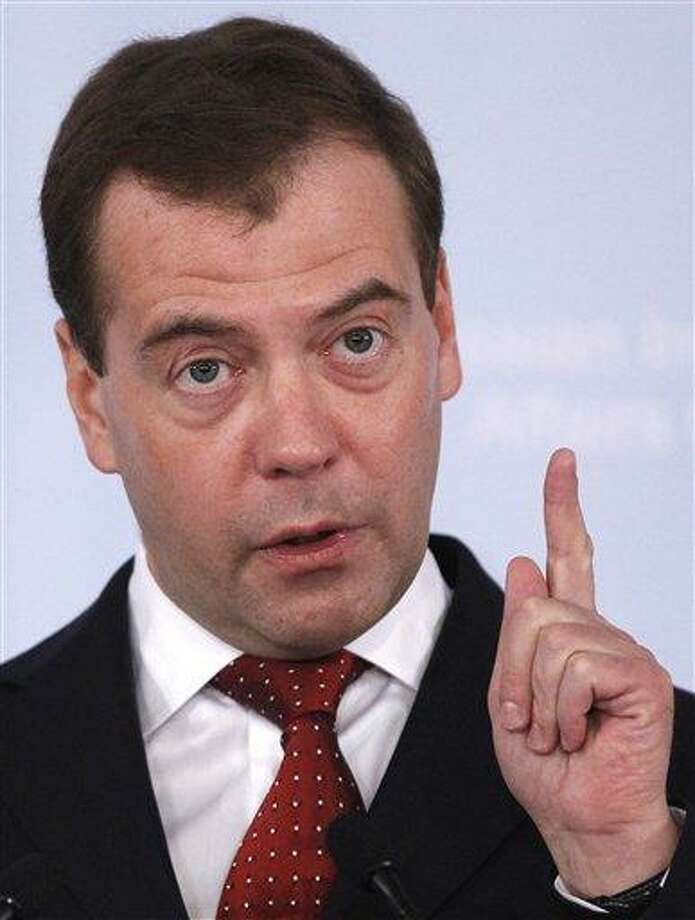 Russian President Dmitry Medvedev speaks at the Russian International Affairs Council in Moscow Friday. Medvedev says that the United States and NATO should come up with an alternative missile defense plans that will not jeopardize nuclear parity with Moscow.  Associated Press Photo: AP / AP