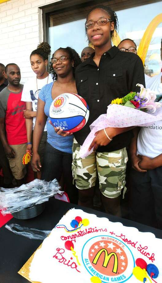 New Haven-Bria Holmes at a send-off celebration held in her honor at McDonald's on Whalley Avenue near Hillhouse High School. She is going to Chicago to play in the All American Game. (Melanie Stengel/Register)