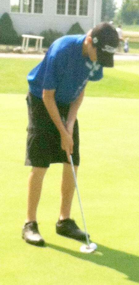 Photo by KATIE STEATESOneida's Ben Kallet lines up a putt during the Mohawk Valley Junior Golf Tour event at Woodgate Pines in Booneville on Monday, July 23, 2012. Kallet shot a 77, his lowest round on the tour this season.