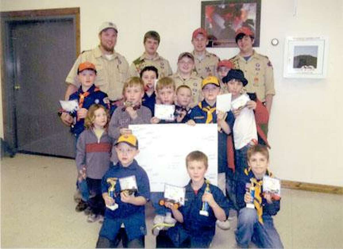 Submitted PhotoPictured are the Boy Scouts and Cub Scouts and in front are the winners. From left are second place winner, Jace Douthit; first place winner, Connor Clark and third place winner, Tyler Fisher.