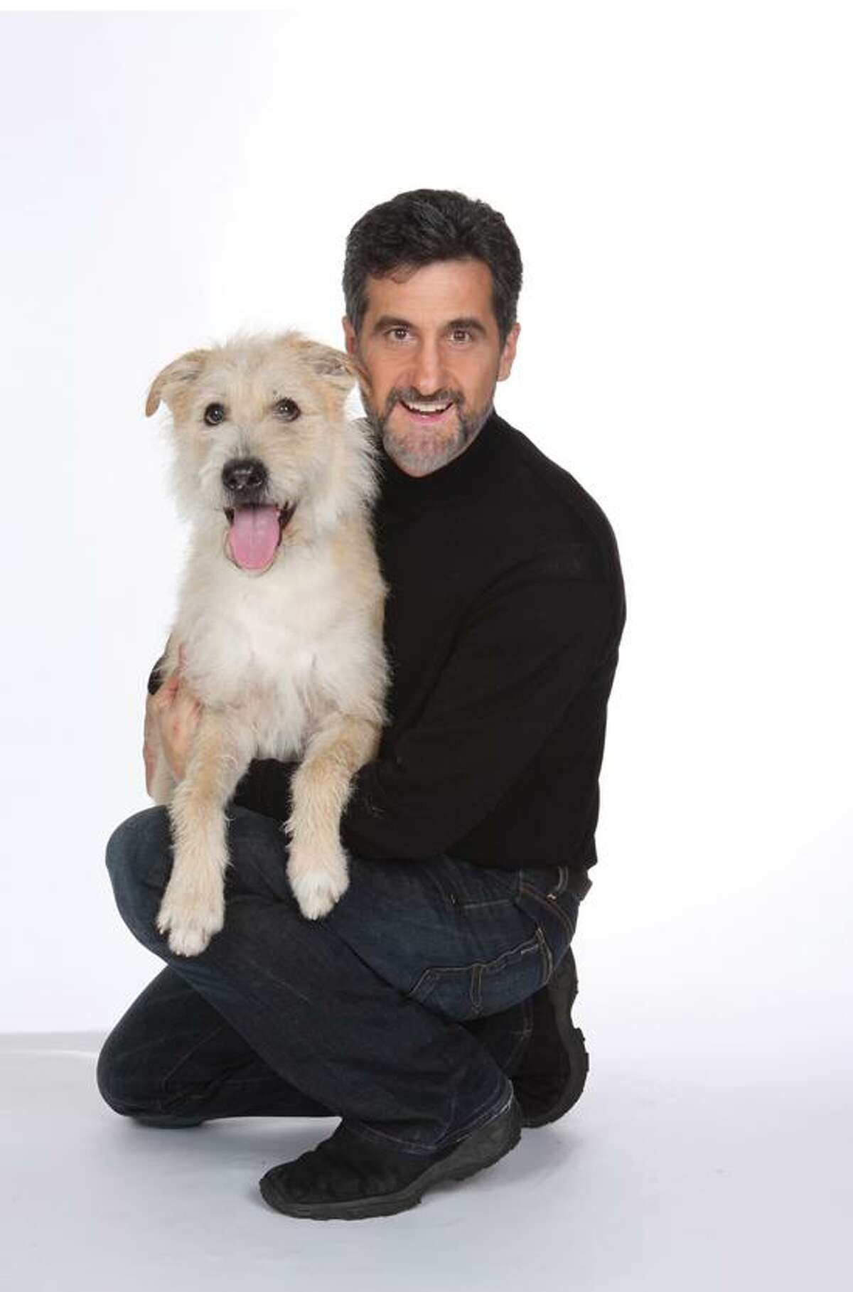 Contributed: Sunny is Broadway bound, but today the canine star and trainer Bill Berloni are at the Yale Barnes & Noble Bookstore.
