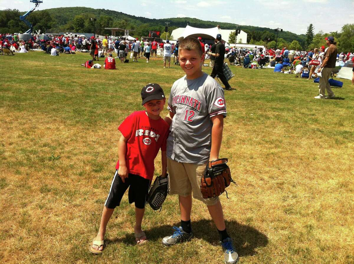 Luke Lindsay, left, and his brother, Seth, traveled from Cincinnati with their parents to see the Baseball Hall of Fame Induction Ceremony on Sunday, July 22, 2012. Submitted Photo