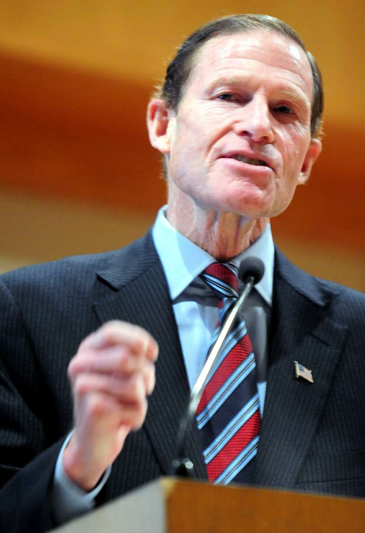 Senator Richard Blumenthal speaks at the rally, We Stand With Israel: Freedom From Fear, at the Jewish Community Center of Greater New Haven in Woodbridge on 11/20/2012.Photo by Arnold Gold/New Haven Register AG0472F