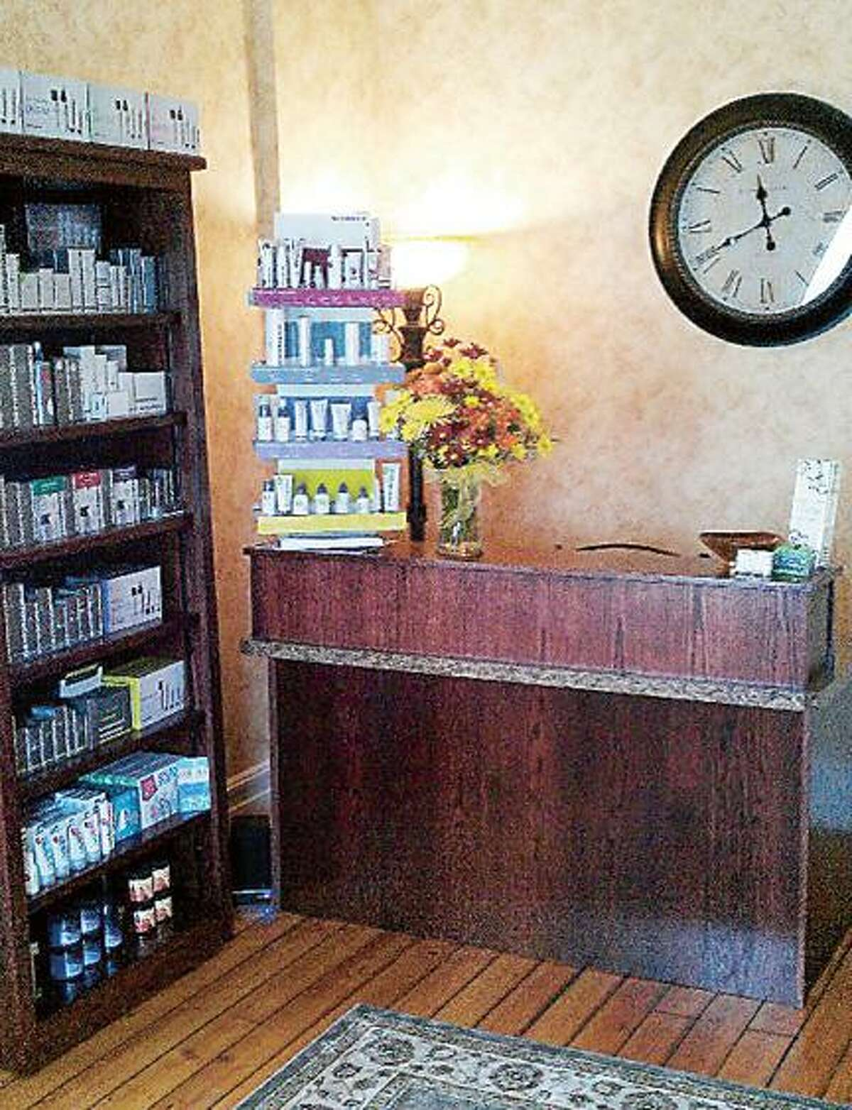Dispatch Staff Photo KRISTIN CLARK The reception area of BeeUtiful Skin Care and Waxing in Clinton.