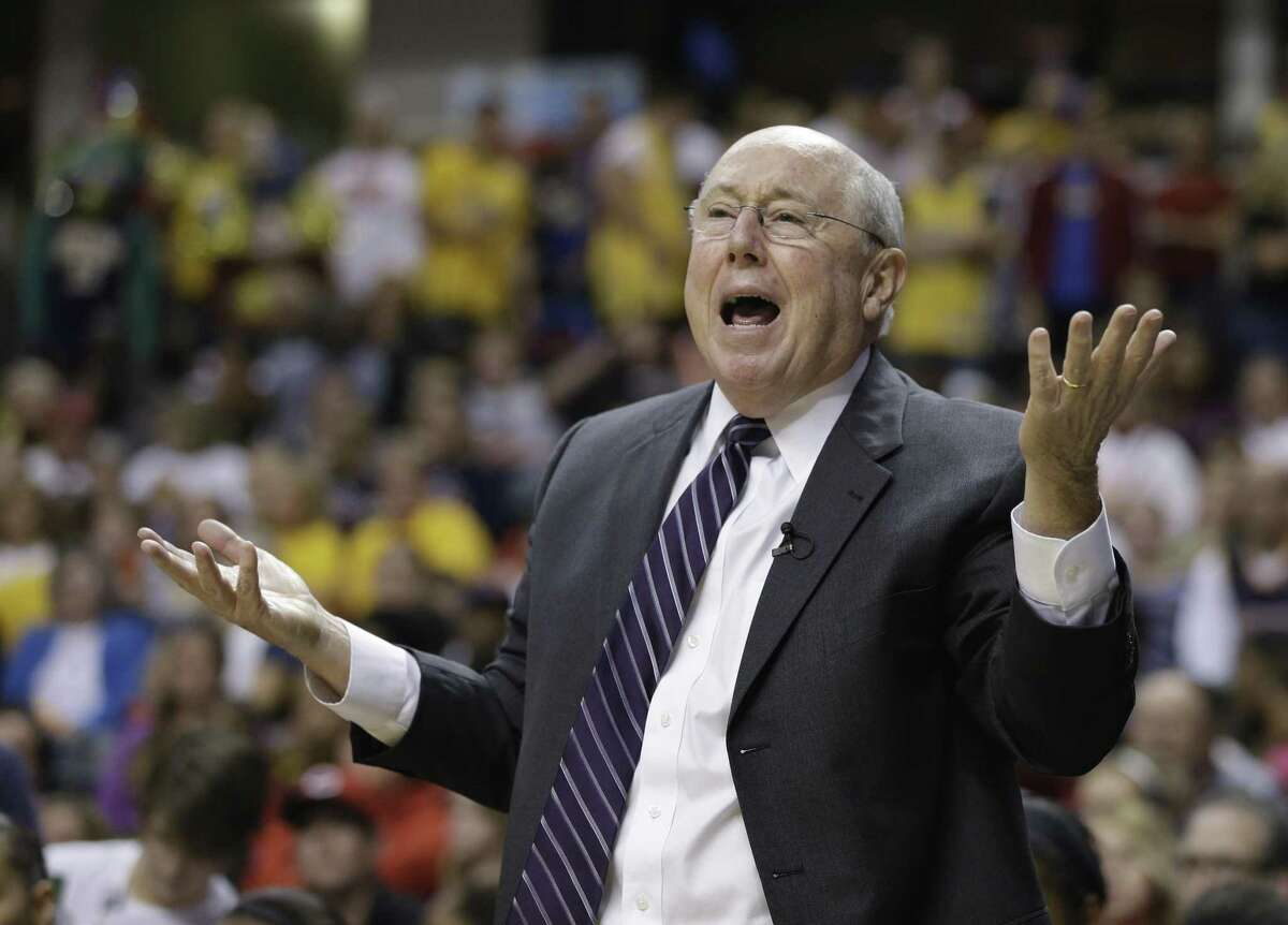 Former Connecticut Sun head coach Mike Thibault reacts to a play in the Eastern Conference finals against the Indian Fever. Photo by The Associated Press