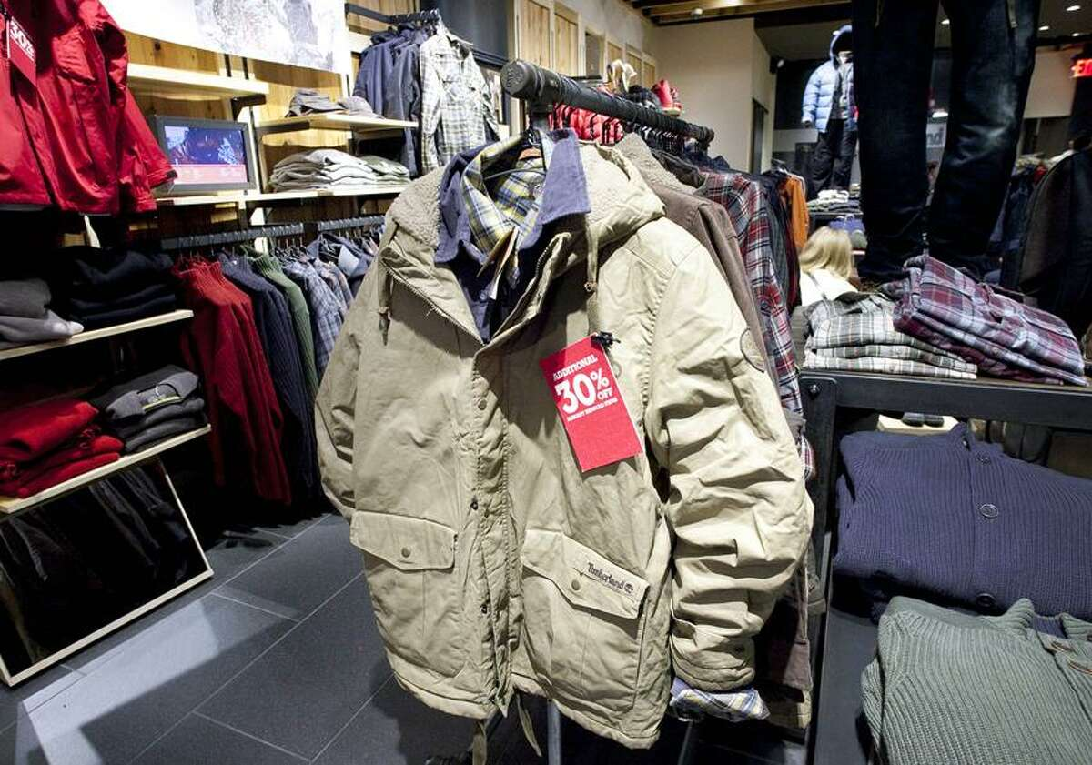 Winter jackets are on sale at Timberland in New York. (Associated Press)