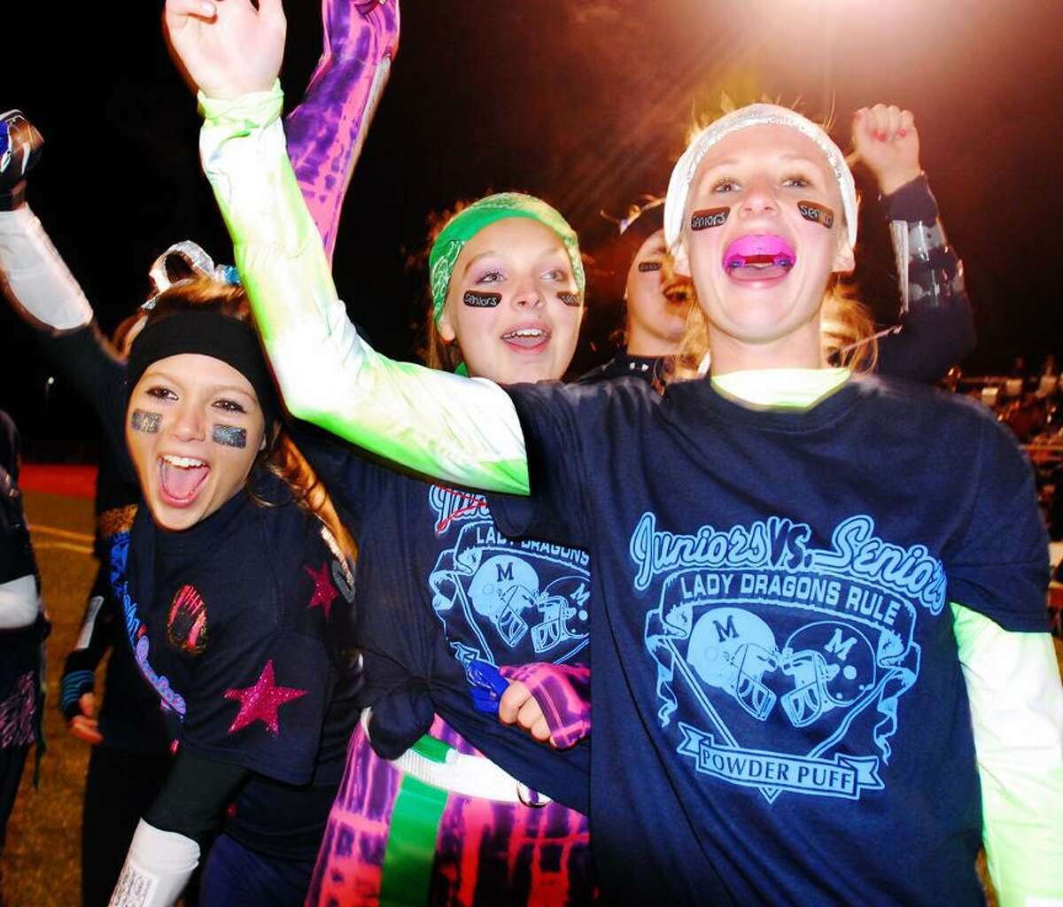 Catherine Avalone/The Middletown PressThe 23rd Annual Powder Puff game between the juniors and seniors on Monday night at Rosek-Skubel Stadium raised $3,000 for local charities.