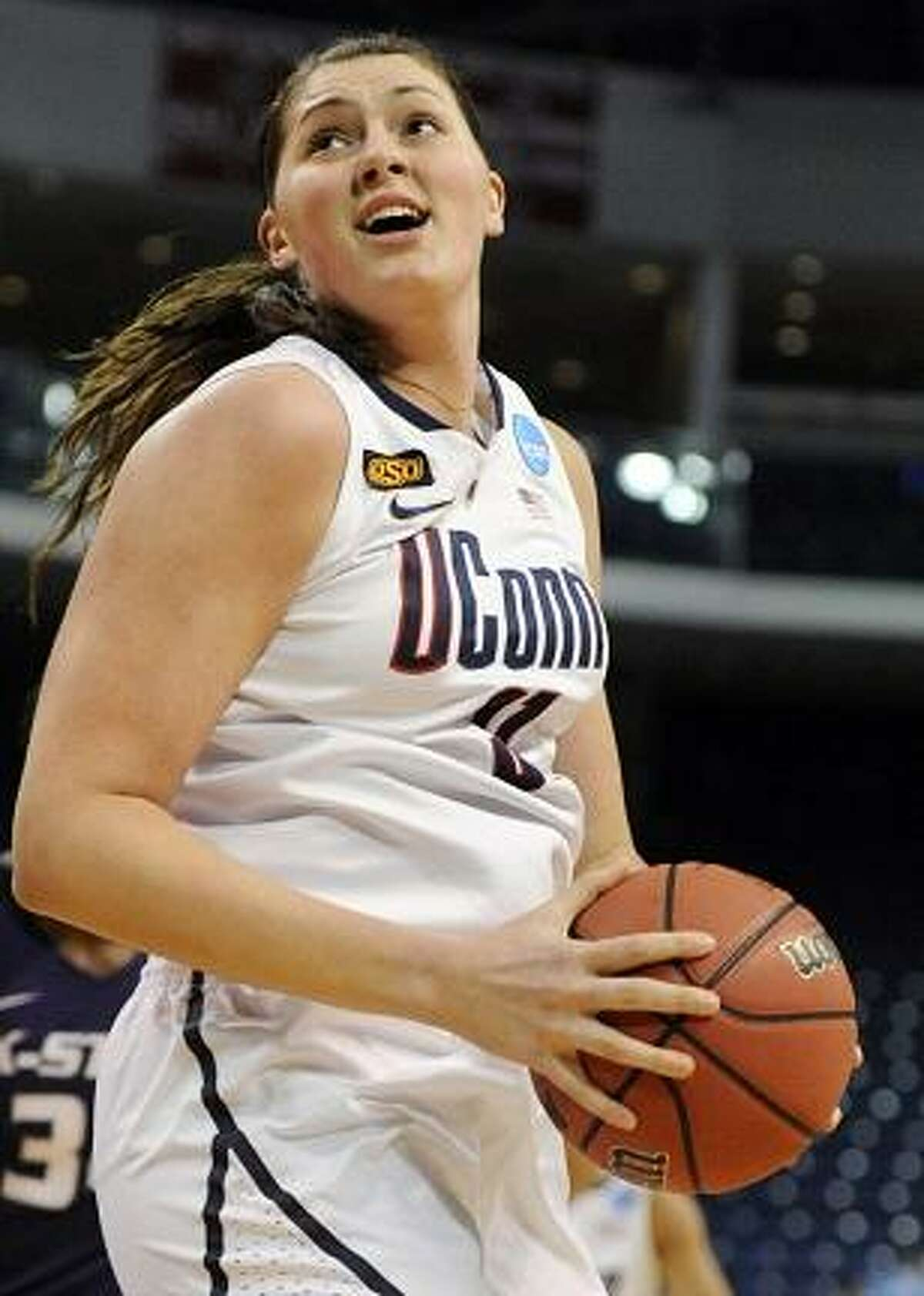 Connecticut's Stefanie Dolson turns to the basket during the first half of an NCAA tournament second-round college basketball game against Kansas State in Bridgeport, Conn., Monday, March 19, 2012. (AP Photo/Jessica Hill)