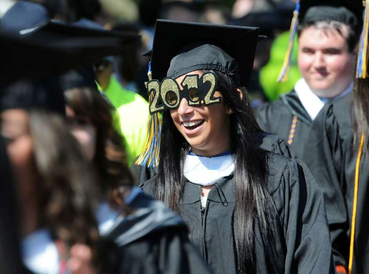 Corinne Kleinberg of Short Hills, N.J., marches into the Quinnipiac University College of Arts and Sciences, and School of Business commencement, Hamden. Mara Lavitt/New Haven Register