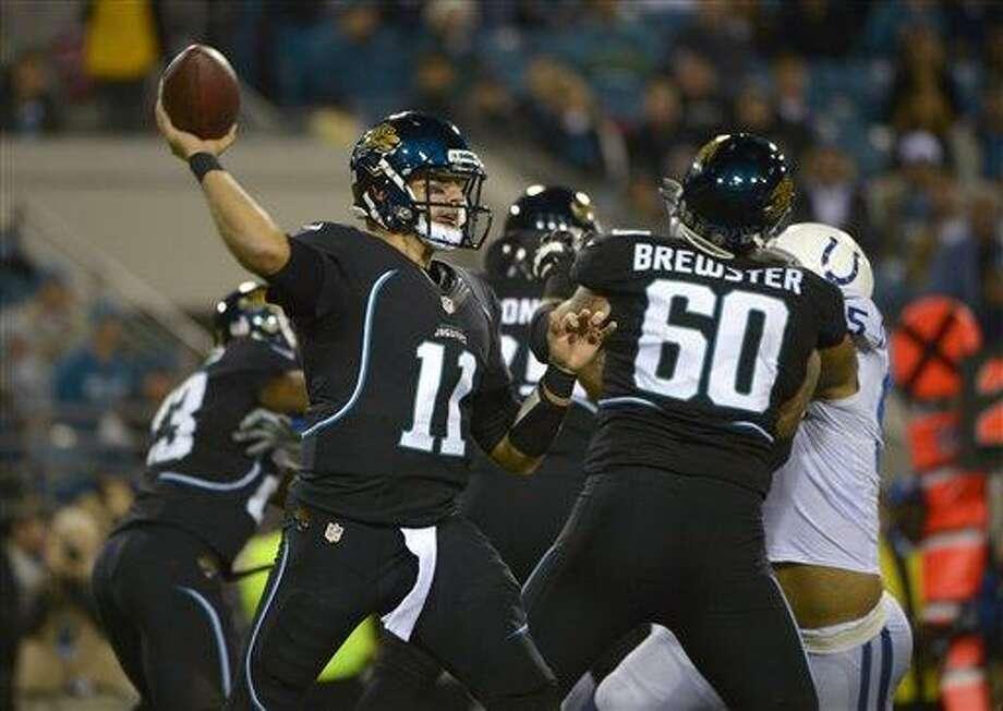 Dan Nowak likes Blaine Gabbert and the Jaguars to cover the 15-1/2 point spread against the Texans on Sunday. (AP Photo/Phelan M. Ebenhack) Photo: AP / FR121174 AP