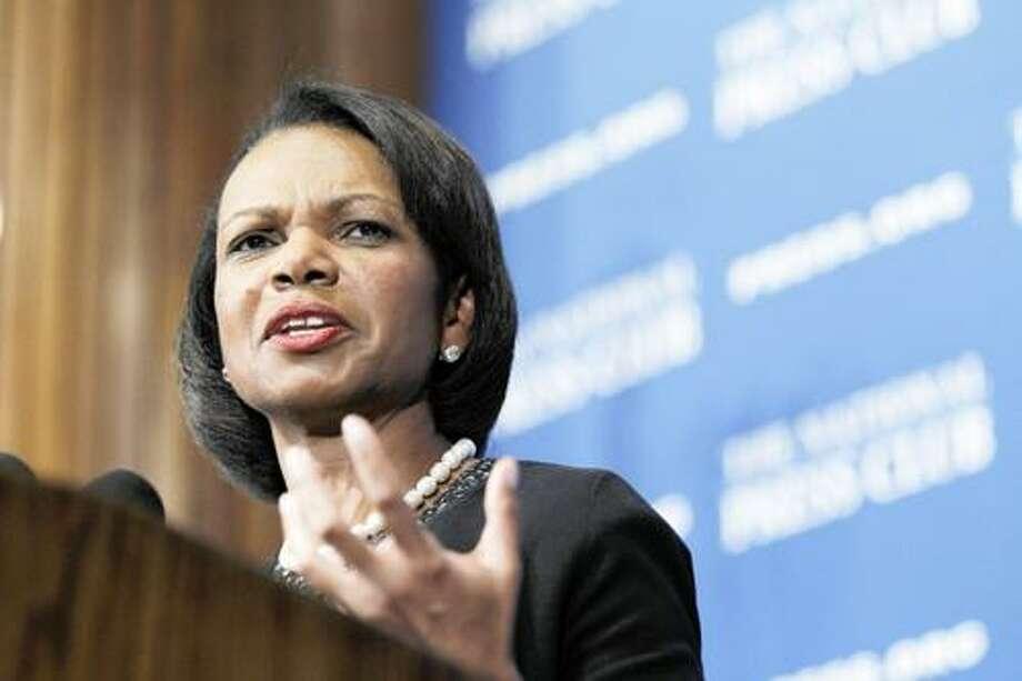 AP Photo Former Secretary of State Condoleezza Rice speaks at the National Press Club in Washington. Photo: AP / AP