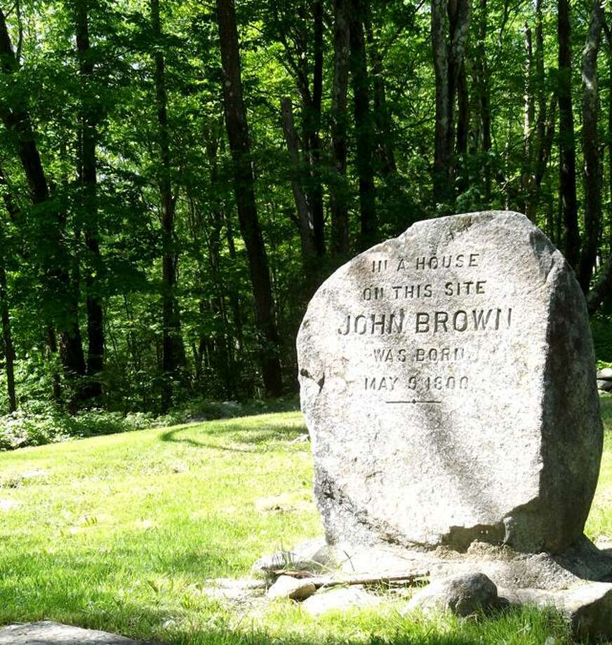 A stone marker sits on the Torrington property where John Brown's birthplace once stood. (RICKY CAMPBELL / Register Citizen)