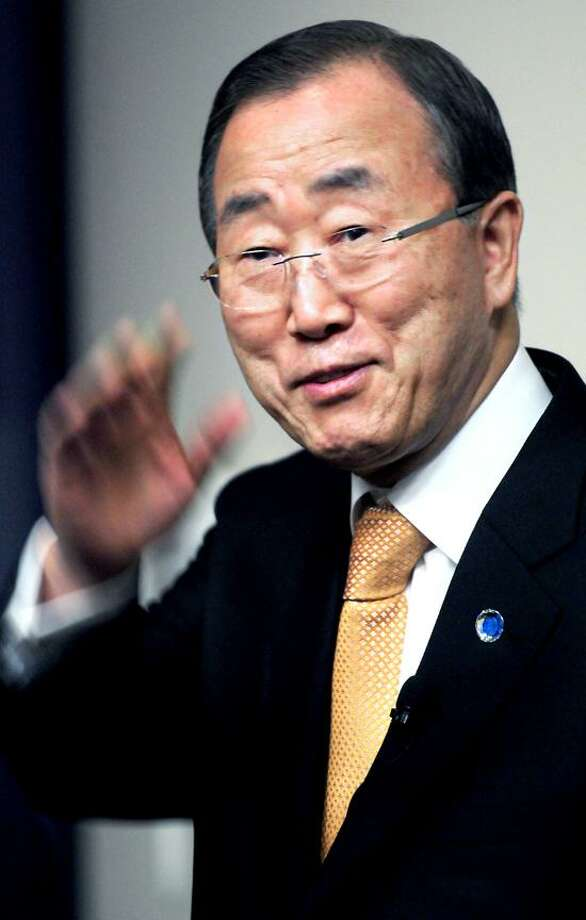 United Nations Secretary-General Ban Ki-moon enters Luce Auditorium at Yale University in New Haven for a lecture. Photo by Arnold Gold/New Haven Register