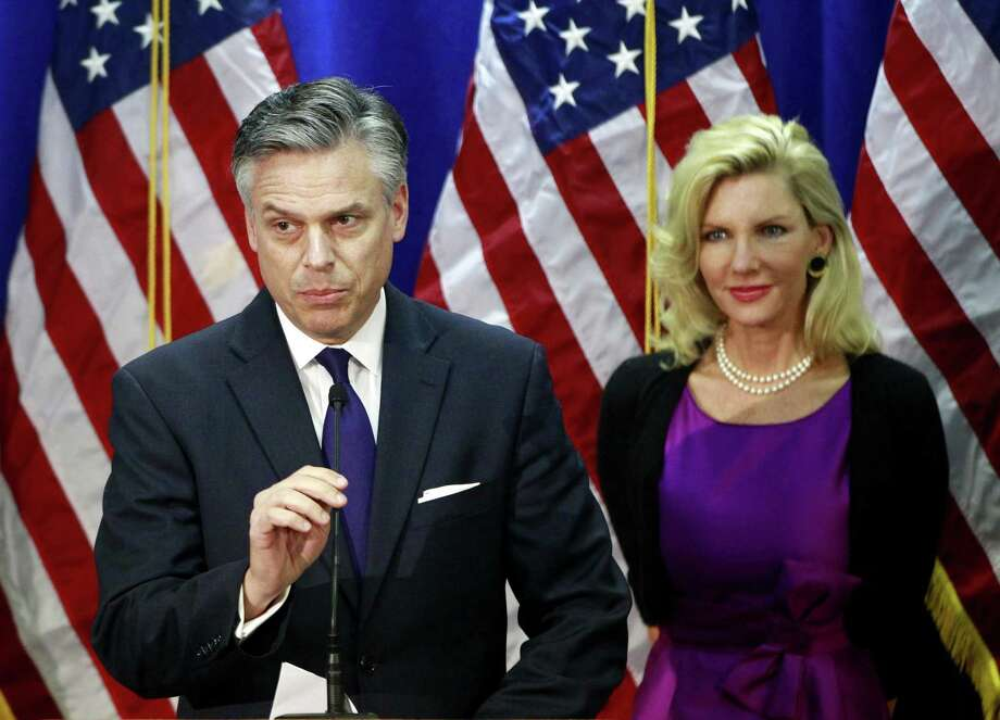 Republican presidential candidate, former Utah Gov. Jon Huntsman, accompanied by his wife Mary Kaye Huntsman, announces he is ending his campaign, Monday, Jan. 16, 2012, in Myrtle Beach, S.C. (AP Photo/Charles Dharapak) Photo: ASSOCIATED PRESS / AP2012