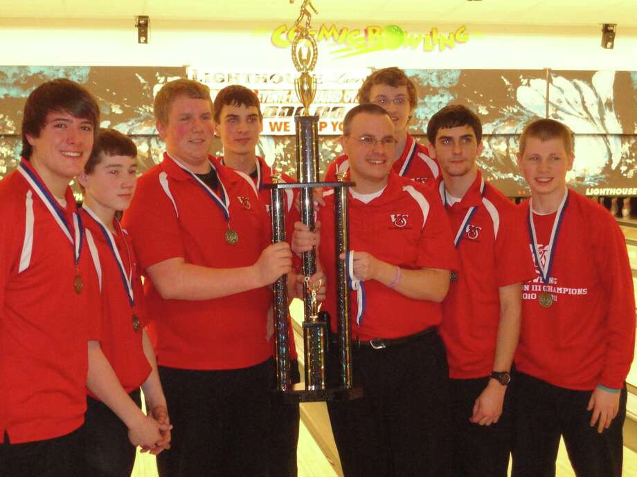 Submitted Photo  VVS' boys bowling team poses with coach David Hyle after winning first-place at the MLK Day tournament in Oswego Monday, Jan. 16, 2012. The team is, from left, Nathan Desnoyers, Brendan Thomas, Brad Long, Collin Laguzza, coach Hyle, Jeremy Howard, Tristan Tormey and James Neverette.