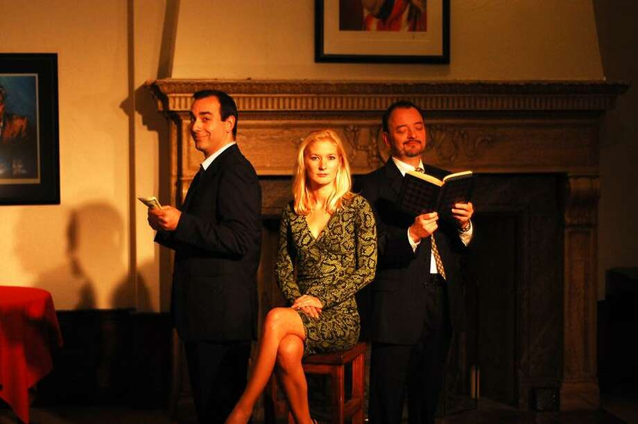 """Contributed photo: Steve Scarpa (Charlie Fox), Megan Keith Chenot (Karen) and J. Kevin Smith (Bobby Gould) star in New Haven Theater Company's """"Speed-the-Plow,"""" directed by George Kulp."""