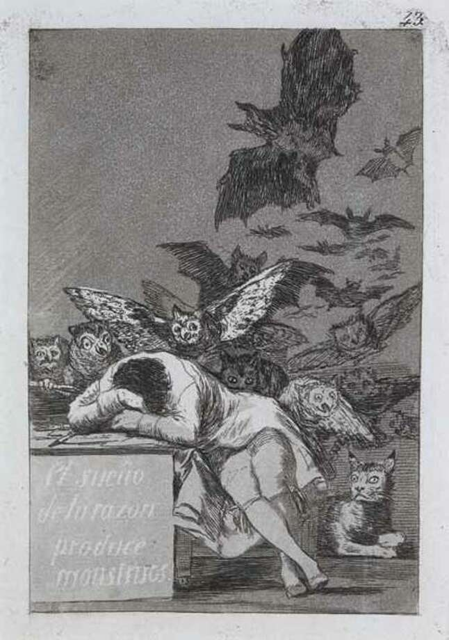 """Photo Courtesy Munson-Williams-Proctor Museum of Art Francisco Goya (Spanish, 1746-1828), The Sleep of Reason Produces Monsters. Plate 43 of the series, """"Los Caprichos,"""" 1797-99. Etching, 7-1/8 x 4-3/4 in."""