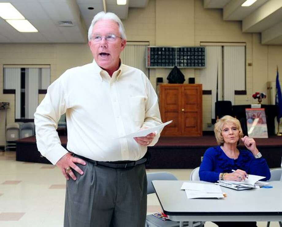Jack Stacey, left, announces his intention to run for mayor in East Haven at an East Haven Democratic Town Committee meeting at the East Haven Senior Center. Photo by Arnold Gold/New Haven Register
