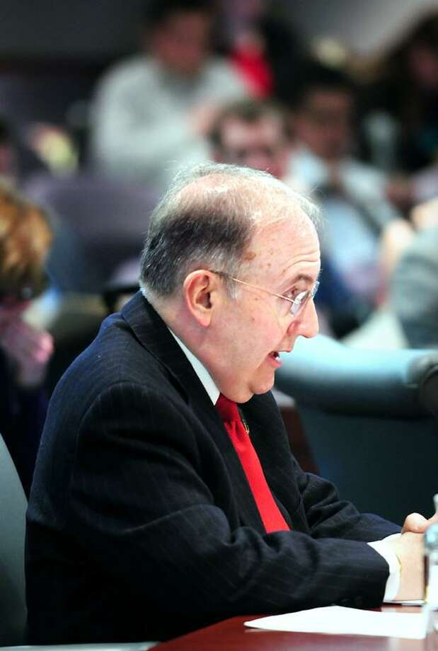 State Sen. Martin Looney speaks in favor of an act concerning the recording of police activity by the public at a Judiciary Committee hearing at the Legislative Office Building in Hartford. Arnold Gold/Register