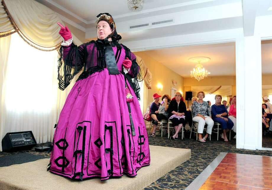 Sally Mummey portrays Mary Todd Lincoln at the Derby Historical Society's 22nd Annual Silver Tea at John J. Sullivan's Restaurant in Ansonia. Photo by Arnold Gold/New Haven Register