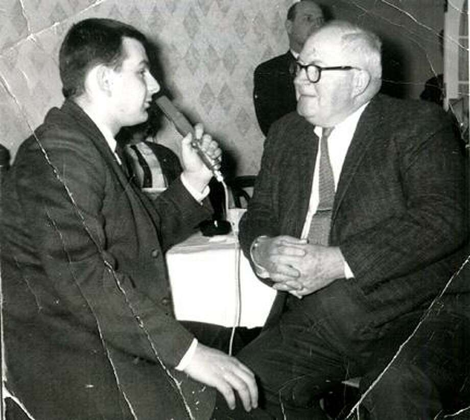 Submitted PhotoAngelo Ottaviano interviews former NFL coach and Hall of Famer Steve Owen during the 1963 March of Dimes Radiothon. Ottaviano was 19 years old at the time of the interview.