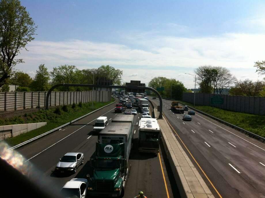 Traffic is congested Thursday on I-95 southbound due to a tractor-trailer accident near Exit 45.  William Kaempffer/Register