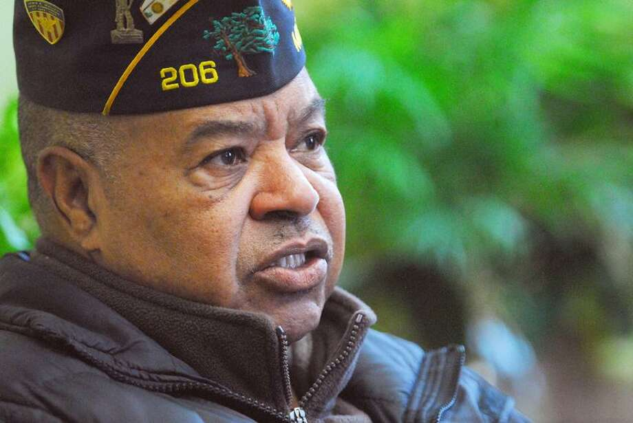 Catherine Avalone/The Middletown Press Vietnam War veteran Tony Gaunichaux, Sr.  Middlesex County District Commander talks about what is what like to be an African American fighting in the Vietnam War.