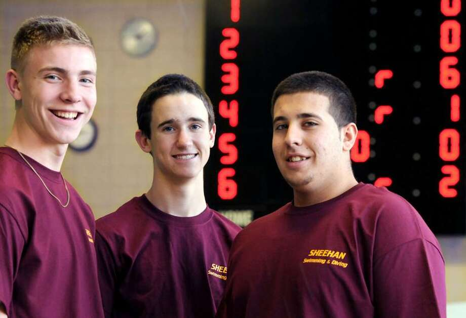 Sheehan High School swim captains left to right: Josh Bjornberg, Derrick Blinn, and Andy Mazzone. Photo by Mara Lavitt/New Haven Register