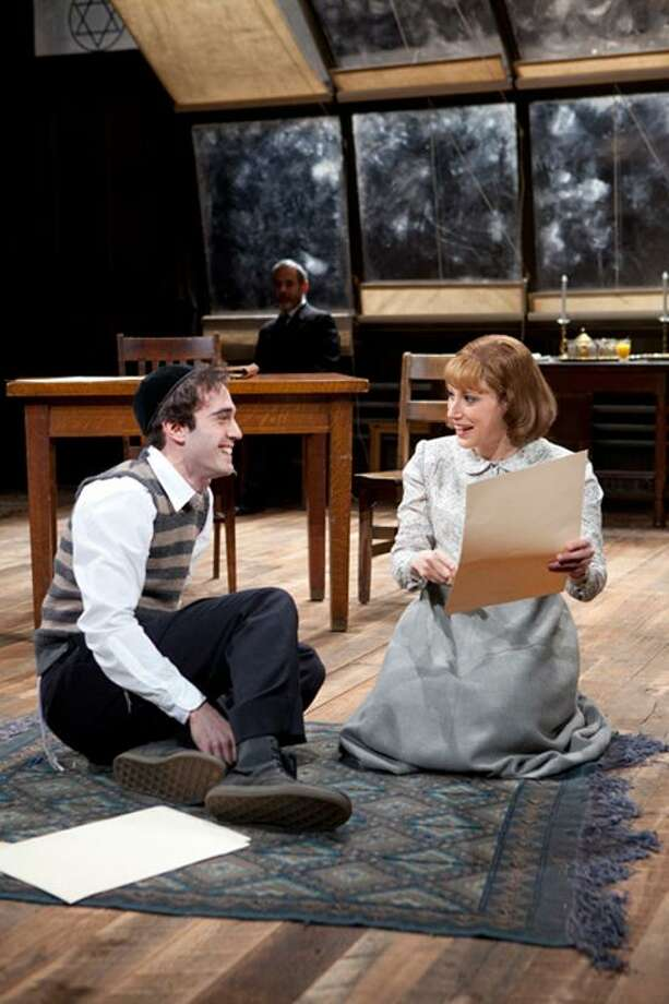 """T. Charles Erickson photo: Ari Brand, left, plays Asher Lev, while Melissa Miller and Mark Nelson, in background, play the rest of the characters in """"My Name Is Asher Lev"""" at LWT."""