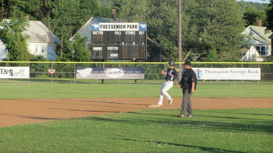 JOHN NESTOR/For the Register Citizen Torrington's Conor Bierfeldt pulls into second after a double in the first inning Monday against the Seacoast Mavericks.