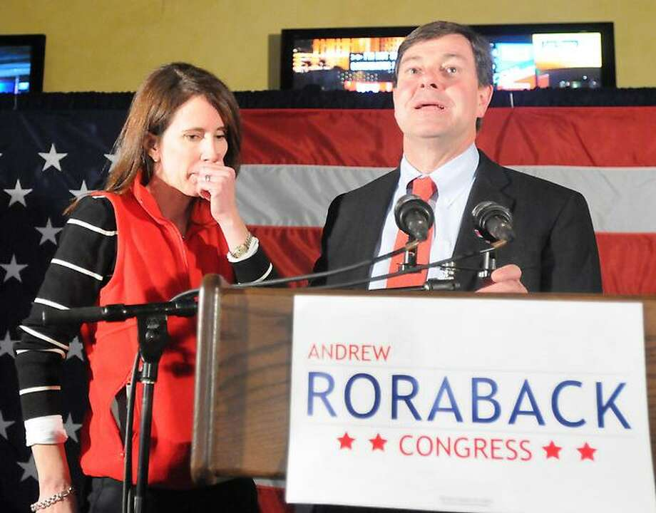 Republican Andrew Roraback, with his wife Kara, makes his concession speech at the Backstage Restaurant in Torrington as he loses to opponent Democrat Elizabeth Esty in the 5th Congressional District on election night  Tuesday, November 6, 2012. Photo by Peter Hvizdak / New Haven Register Photo: New Haven Register / ©Peter Hvizdak /  New Haven Register