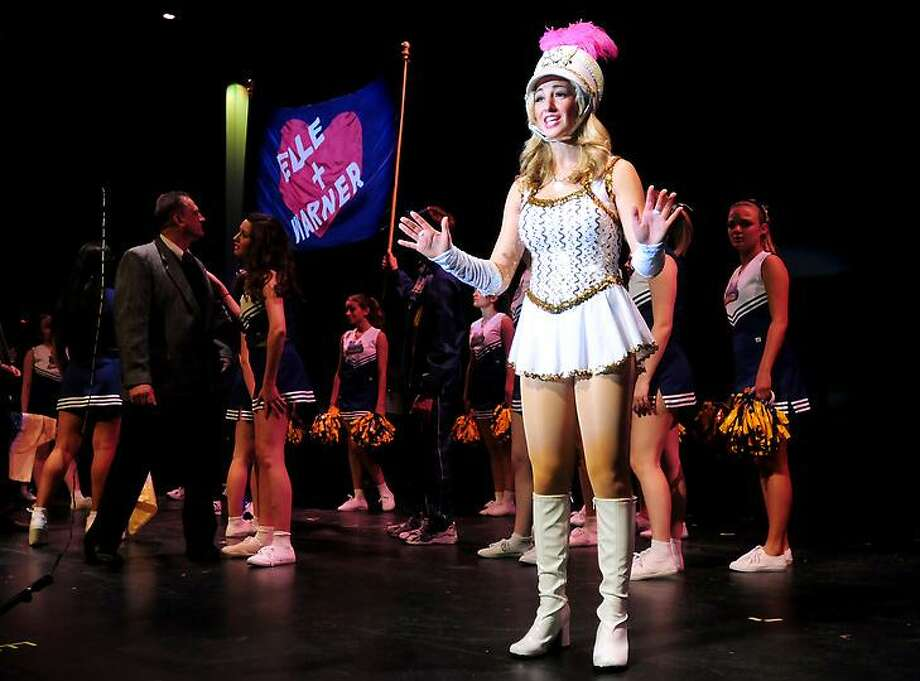 Alli Kramer (foreground) as Elle Warner and the cast rehearse a scene from Legally Blond, The Musical at Amity High School in Woodbridge on 5/8/2012.Photo by Arnold Gold/New Haven Register