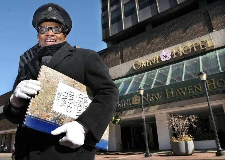 Eugene Scott, longtime doorman at the Omni Hotel. Photo by Mara Lavitt/New Haven Register3/6/12