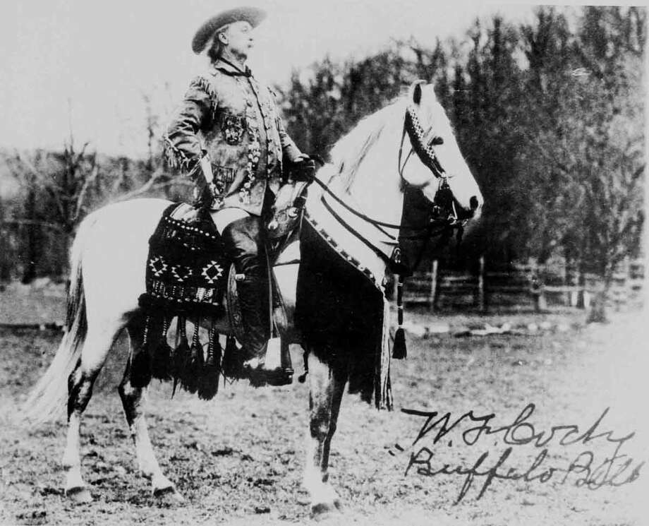 """Colonel William F. Cody, """"Buffalo Bill"""", is shown in this undated photo sitting on top of his Arabian stallion """"Muson"""". (AP Photo) Photo: AP / AP"""