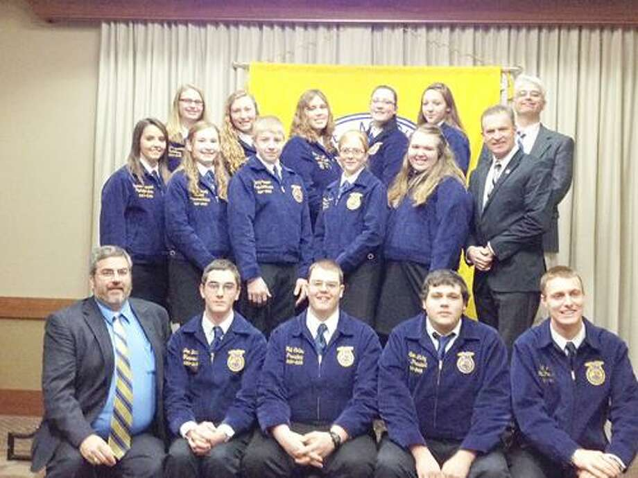 Photo Courtesy VVS FFA Front row from left: Keith Schiebel, VVS High School agriculture teacher and FFA advisor; Joe Brown, VVS FFA treasurer; Neil Collins, VVS FFA president; Dalton LaGoy, VVS FFA vice president of student development; J.W. Allen, New York State FFA president. Middle row from left: Deanna Schiebel, VVS FFA chapter photographer; Sarah Peavey, VVS FFA chapter representative; Kenny Stover, VVS FFA parliamentarian; Rachael Schmeichel, VVS FFA historian; Tess Legler, VVS FFA reporter; Andy Brown, VVS High School principal. Back row from left: Haley Suprenant, VVS FFA secretary; Miranda Parkhurst, New York State FFA reporter; Kasey Demo, VVS FFA student advisor; Anna Catello, VVS FFA vice president of community development; Rebekah Meyers, VVS FFA reporter; Paul Perry, VVS High School science teacher.