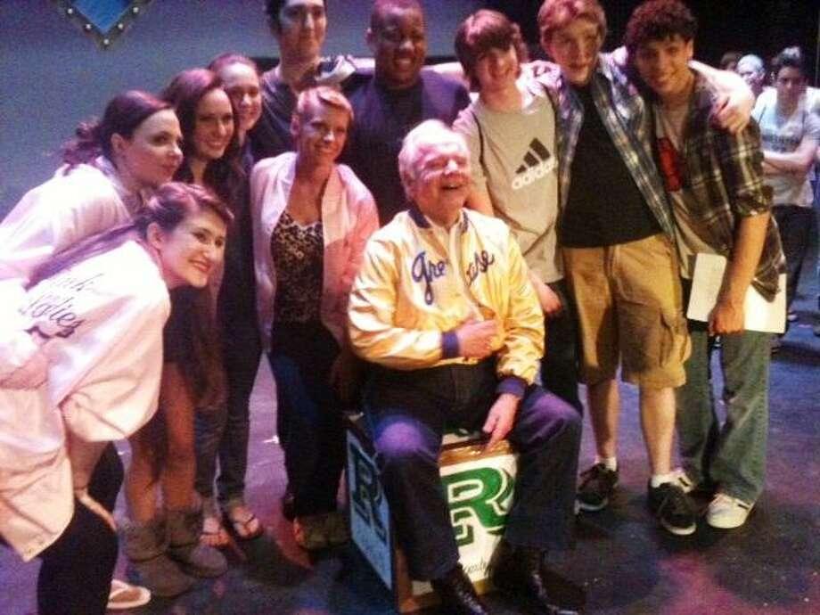 "Ray DeMattis with the Hamden High cast of ""Grease."" Ann DeMatteo/Register"
