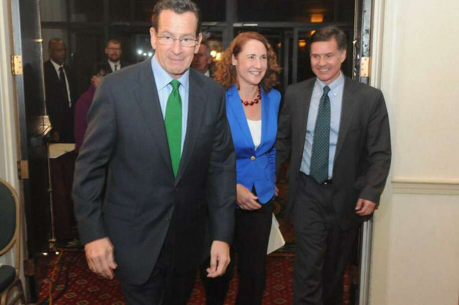 Elizabeth Esty, center, defeats Andrew Roraback in 5th District. Mara Lavitt/New Haven Register
