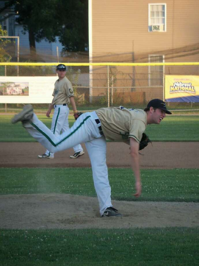 PETER WALLACE/Register Citizen Simsbury's Mike Gibbons won a pitching duel with Torrington's Sam Shurberg Thursday evening at Fuessenich Park, 2-1, holding the P38s to just 3 hits, along with 10 strikeouts and no walks.