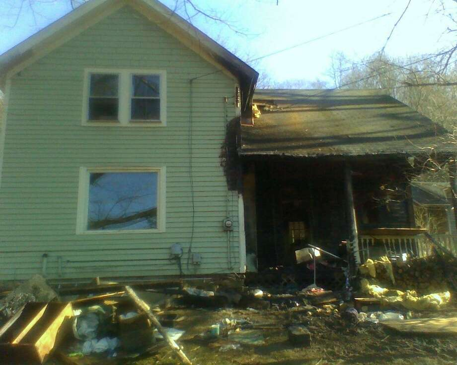 The fire-ravaged house on Bee Brook Road in Washington. Photo by Jack Coraggio.