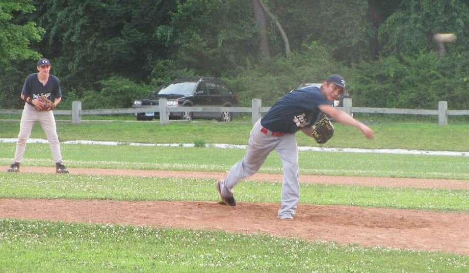 JOHN NESTOR/Register Citizen Correspondent Jedd Gravel went the distance to help Tri-Town Connie Mack snap a seven-game losing skid on Friday evening at Community Field in Litchfield. Tri-Town beat Amenia 5-4.