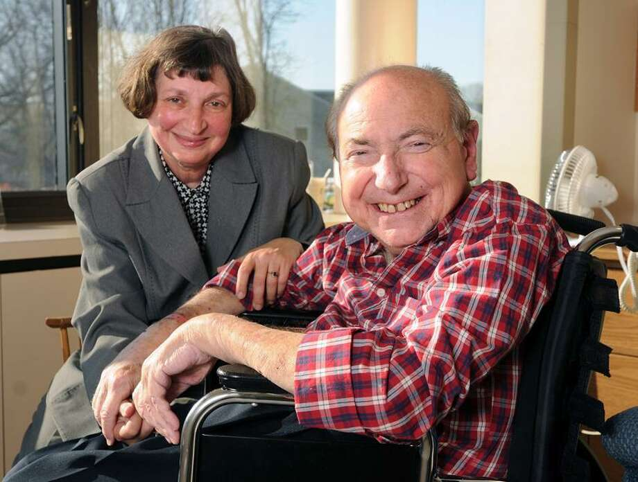 Dr. Mel Goldstein, shown with his wife Arlene, is making good progress at Connecticut Hospice in Branford.    (Peter Casolino/New Haven Register)