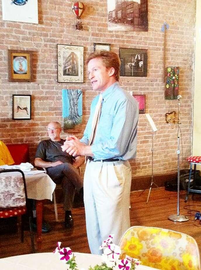 Photo Courtesy Oneida City Democrats 22nd Congressional District candidate Dan Lamb speaks to Oneida City Democrats June 21, 2012.